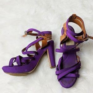 Lanvin Purple Brown Strapped Heel Sandal sz 40